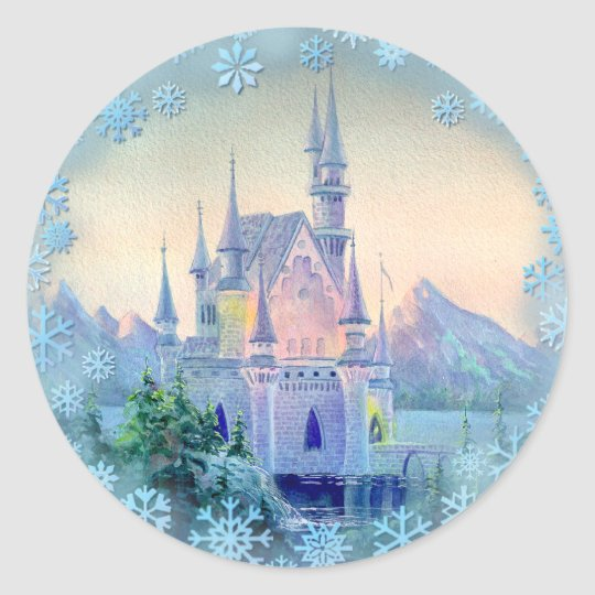 CHRISTMAS CASTLE by SHARON SHARPE Classic Round Sticker