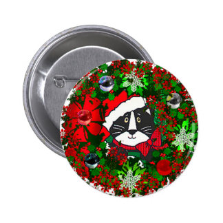 Christmas Cat 6 Cm Round Badge