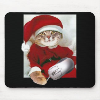Christmas Cat and Computer Mouse Mouse Mat