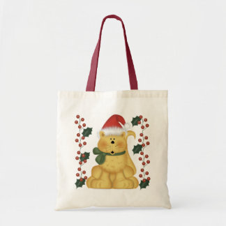 Christmas Cat And Holly Christmas Tote Bag