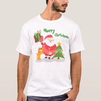 Christmas Cat and Santa T-Shirt