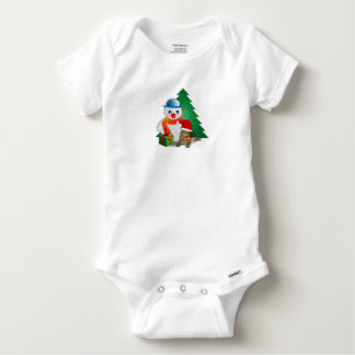 Christmas Cat and Snowman, Baby Onesie