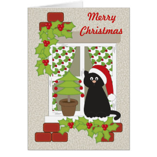 Christmas Cat and Window Card