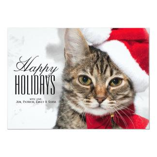 Christmas cat at red santa's hat 13 cm x 18 cm invitation card
