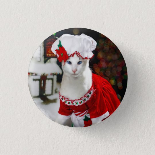 Christmas Cat Button
