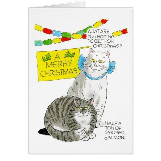 Christmas Cat Card - Salmon