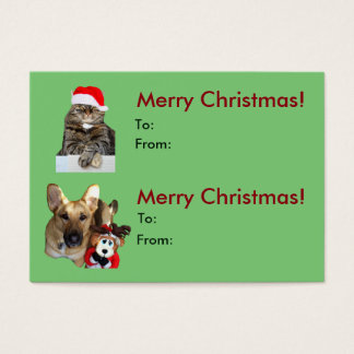 Christmas Cat & Dog Gift Tag/Business Card