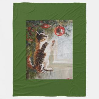Christmas cat fleece blanket