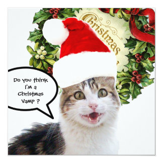 CHRISTMAS CAT ,Grooved Card