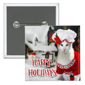 "Christmas Cat - Holiday Button ""Mrs Claws"""