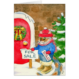 Christmas Cat House for Sale Greeting Cards