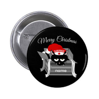 Christmas Cat in a Gift Box 6 Cm Round Badge