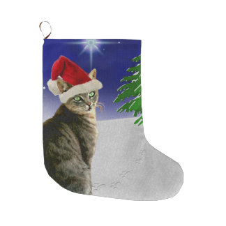 Christmas cat in a Santa hat Large Christmas Stocking