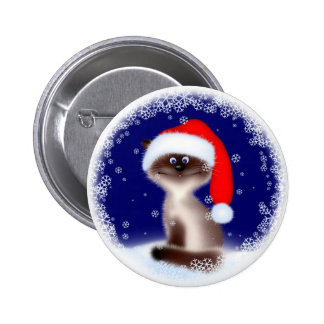 Christmas Cat in Santa Hat 6 Cm Round Badge