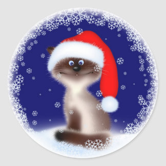 Christmas Cat in Santa Hat Round Sticker