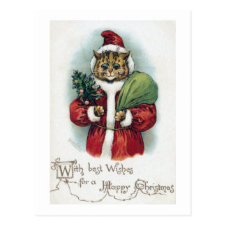 Christmas cat, Louis Wain Postcard