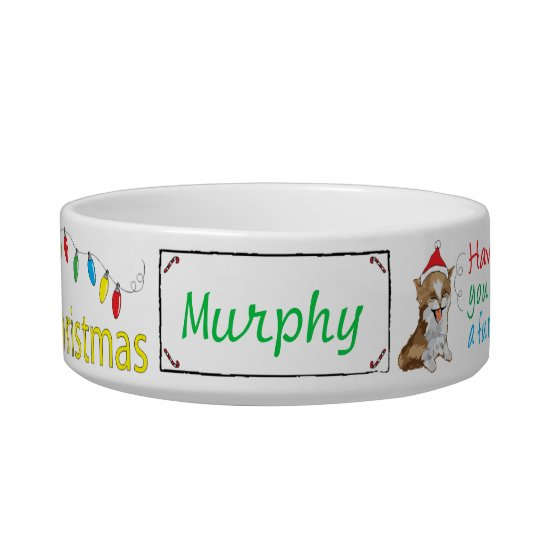 "Christmas CAT Medium Pet Bowl ""Furry Christmas"""