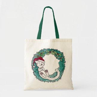 Christmas Cat Nap Wreath Photo Ornament Tote Bags