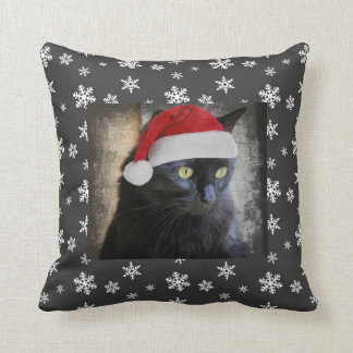 Christmas Cat on Charcoal Pillow w/ Snowflakes