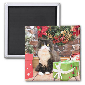 Christmas - Cat - Persian - George Fridge Magnet