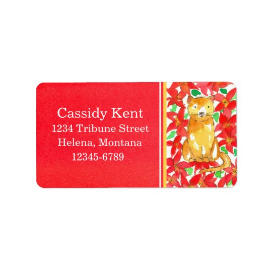 Christmas Cat Poinsettia Flowers Red Address Label