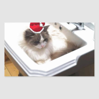 Christmas Cat Rectangular Sticker