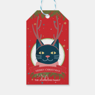 Christmas Cat Red Gift Tags