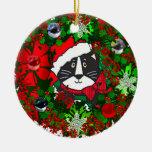 Christmas Cat Round Ceramic Decoration