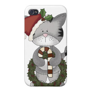 Christmas Cat Santa Claus Case For The iPhone 4