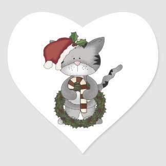Christmas Cat Santa Claus Heart Sticker