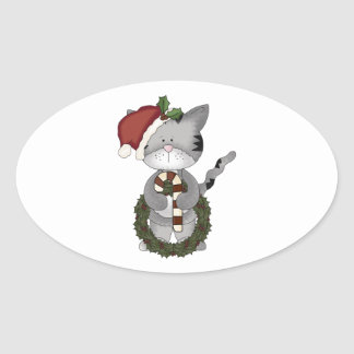 Christmas Cat Santa Claus Oval Sticker