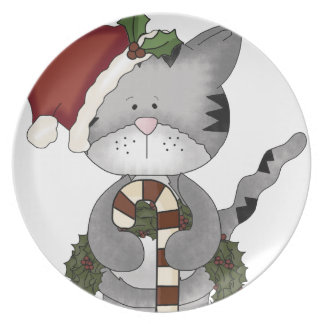 Christmas Cat Santa Claus Party Plates
