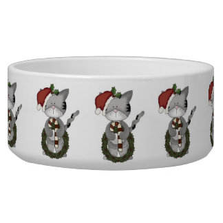 Christmas Cat Santa Claus Pet Food Bowl