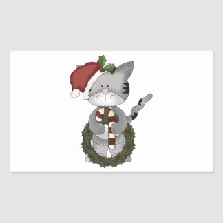 Christmas Cat Santa Claus Rectangular Sticker