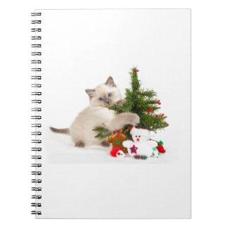 Christmas cat spiral notebook