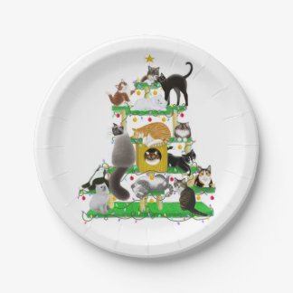 Christmas Cat Tree Paper Plates