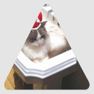 Christmas Cat Triangle Sticker