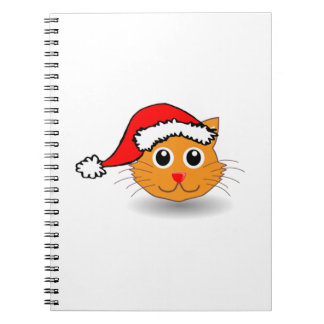 Christmas Cat Wearing Santa Hat Spiral Notebooks