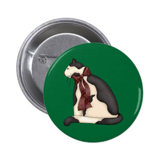 Christmas Cat with Bow Ribbon 6 Cm Round Badge