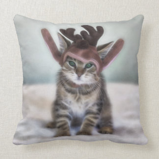 Christmas Cat with Reindeer Hat Cushion