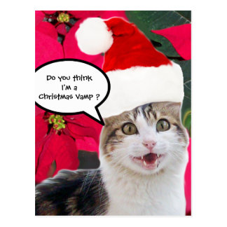 CHRISTMAS CAT WITH SANTA CLAUS HAT AND POINSETTIAS POSTCARD
