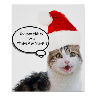CHRISTMAS CAT WITH SANTA CLAUS HAT POSTER