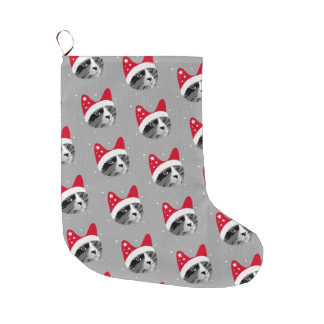 Christmas Cat with Santa Hat Large Christmas Stocking