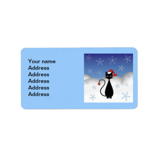 Christmas Cat with Snowflakes Address Label