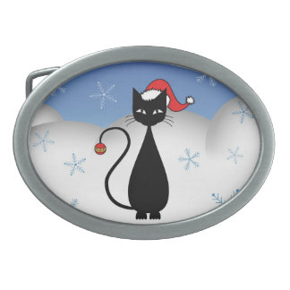 Christmas Cat with Snowflakes Belt Buckles