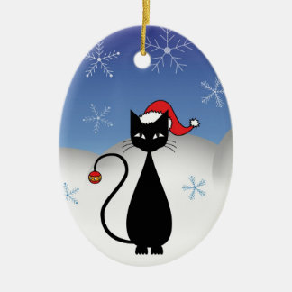 Christmas Cat with Snowflakes Ceramic Oval Decoration