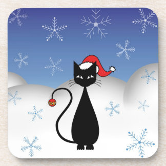 Christmas Cat with Snowflakes Coasters