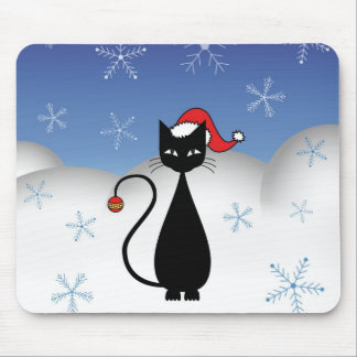 Christmas Cat with Snowflakes Mouse Pads