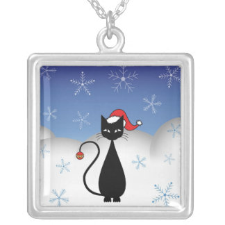 Christmas Cat with Snowflakes Pendants
