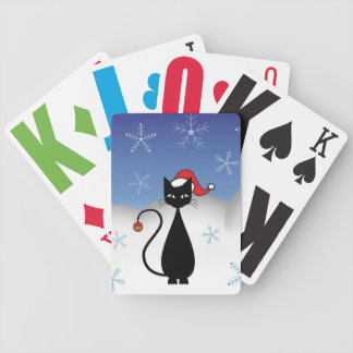 Christmas Cat with Snowflakes Poker Deck